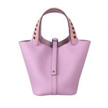 Hermès(爱马仕)Picotin 菜篮包 X9锦葵紫 编织手柄 epsom皮 银扣 18cm