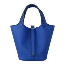 Hermès(爱马仕)Picotin 菜篮包 I7琉璃蓝 编织手柄 epsom皮 银扣 18cm