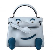Hermès(爱马仕)kelly doll 娃娃包 冰川蓝 swift皮 银扣 18cm