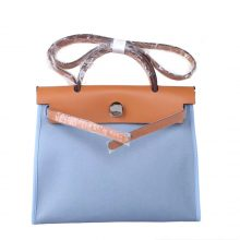 Hermès(爱马仕)Herbag 驼色盖头马卡龙蓝 帆布 银扣 31cm