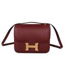 Hermès(爱马仕)Constance 空姐包 爱马仕红 EP皮 金扣 19cm