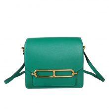 Hermès(爱马仕)roulis 猪鼻包 丝绒绿 EV皮 金扣 19cm