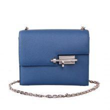 Hermès(爱马仕)Verrou 锁链包 插销包 玛瑙蓝 epsom皮 银扣 17cm