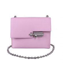 Hermès(爱马仕)Verrou 锁链包 插销包 锦葵紫 山羊皮 银扣 17cm