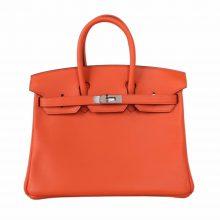 Hermès(爱马仕)Birkin 铂金包 橙色 swift皮 银扣 25cm