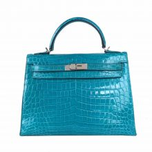 Hermès(爱马仕)Kelly 凯莉包 湖水蓝 亮面鳄鱼 银扣 28cm