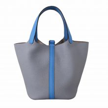 Hermès(爱马仕)Picotin 菜篮包 togo 海鸥灰拼水妖蓝 银扣 18cm