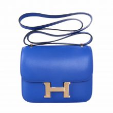 Hermès(爱马仕)Constace 空姐包 电光蓝 swift皮 金扣 19cm