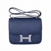 Hermès(爱马仕)Constace 空姐包 午夜蓝  EP皮 银扣 19cm