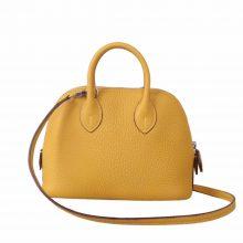 Hermès(爱马仕)Mini bolide 保龄球包 琥珀黄 EV 银扣 18cm