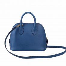 Hermès(爱马仕)Mini bolide 保龄球包 深邃蓝  EV 金扣 18cm