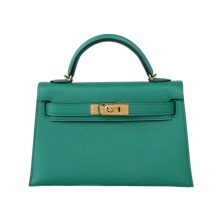 Hermès(爱马仕)mini Kelly 迷你凯莉 丝绒绿 epsom 金扣 二代