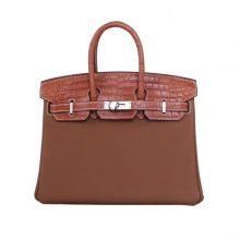 Hermès(爱马仕)Birkin 铂金包 金棕色 Togo拼同色鳄鱼皮 银扣 30CM