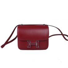 Hermès(爱马仕)Constance 空姐包 酒红 box 珐琅扣 银扣 19cm