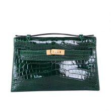 Hermès(爱马仕)mini kelly 一代 22cm 祖母绿 鳄鱼皮 金扣