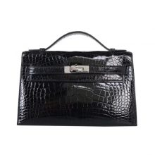 Hermès(爱马仕)mini kelly 一代 22cm 黑色 鳄鱼皮 银扣