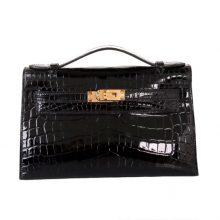 Hermès(爱马仕)mini kelly 一代 22cm 黑色 鳄鱼皮 金扣