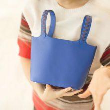 Hermès(爱马仕)Picotin 菜篮包 琉璃蓝 编织手柄 epsom皮 银扣 18cm