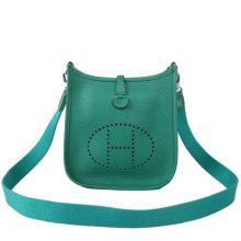 Hermès(爱马仕)mini evelyne 伊芙琳  绒丝绿 Togo 银扣 17cm