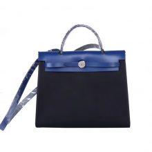 Hermès(爱马仕)Herbag 手提单肩包 电光蓝马鞍皮拼 黑色帆布 银扣 31cm