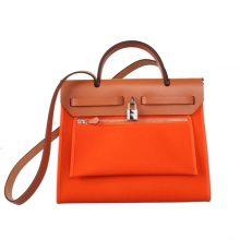 Hermès(爱马仕)Herbag 手提单肩包 金棕盖头橙色帆布 银扣 31cm