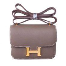 Hermès(爱马仕)mini constance 迷你 空姐包 大象灰 金扣 14cm