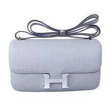 Hermès(爱马仕)Constance 空姐包 冰川蓝 epsom皮 银扣 26cm