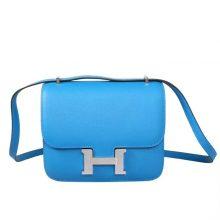 Hermès(爱马仕)Constace 空姐包 伊兹密尔蓝 EP 银扣 19cm