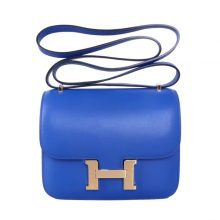 Hermès(爱马仕)Constace 空姐包 电光蓝  swift 金扣 19cm