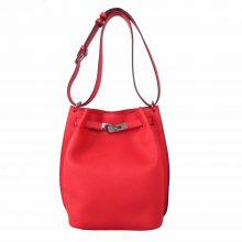 Hermès(爱马仕)soKelly 单肩包 中国红 togo 银扣 22cm