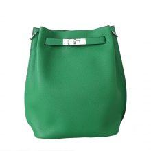 Hermès(爱马仕)soKelly 单肩包 竹子绿 togo 银扣 22cm