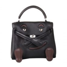 Hermès(爱马仕)kelly doll娃娃包 黑色拼咖啡色 swift皮 银扣 18cm