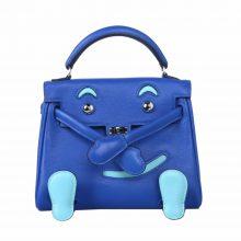 Hermès(爱马仕)kelly doll娃娃包 布莱顿蓝拼微风蓝 swift皮 银扣 18cm