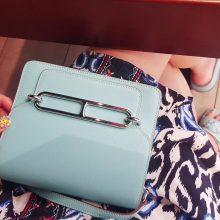 Hermès(爱马仕)roulis 猪鼻包 马卡龙蓝 swift 银扣 19cm
