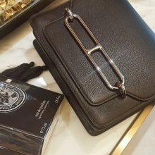 Hermès(爱马仕)roulis 猪鼻包 黑色 swift 银扣 19cm