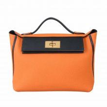 Hermès(爱马仕)Kelly 2424  29cm 金扣 橙色拼黑色 togo