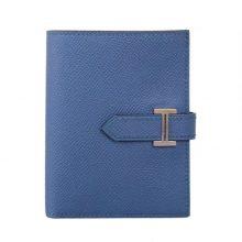 Hermès(爱马仕)Bearn 小H扣 短夹 玛瑙蓝 银扣 epsom皮