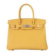 Hermès(爱马仕)birkin 铂金包 柠檬黄 银扣 togo 30cm