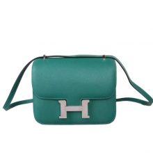 Hermès(爱马仕)Constace 空姐包 孔雀绿 epsom皮 银扣 19cm