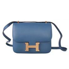Hermès(爱马仕)Constace 空姐包 玛瑙蓝 epsom皮 金扣 19cm