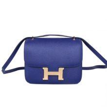 Hermès(爱马仕)Constace 空姐包 M3墨水蓝 epsom皮 金扣 19cm