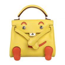 Hermès(爱马仕)Kellydoll 娃娃包 柠檬黄拼橘红 银扣 swift
