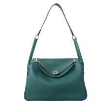 Hermès(爱马仕)Lindy 琳迪包 孔雀绿 togo 银扣 30cm