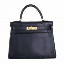 Hermès(爱马仕)Kelly 28 黑金 swift 蕾丝