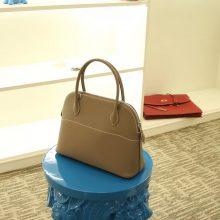 Hermès(爱马仕)bolid 保龄球包 大象灰 Epsom皮 28cm