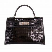 Hermès(爱马仕)miniKelly 二代 黑银 亮面鳄鱼