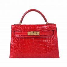 Hermès(爱马仕)miniKelly 2代 20cm 金扣 法拉利红 亮面鳄鱼