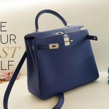 Hermès(爱马仕)Kelly 凯莉包 电光蓝 银扣 togo 25cm