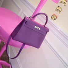 Hermès(爱马仕)Kelly 凯莉包 海葵紫 银扣 togo 25cm