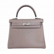 Hermès(爱马仕)Kelly 25 银 M8沥青灰 swift